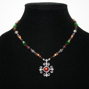 Stunning mixed stone silver cross necklace